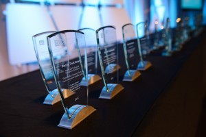 Awards lined up on the table