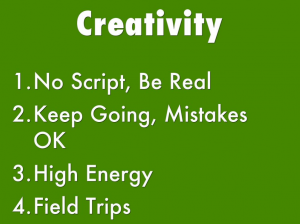 Screenshot from presentation talking about creativity