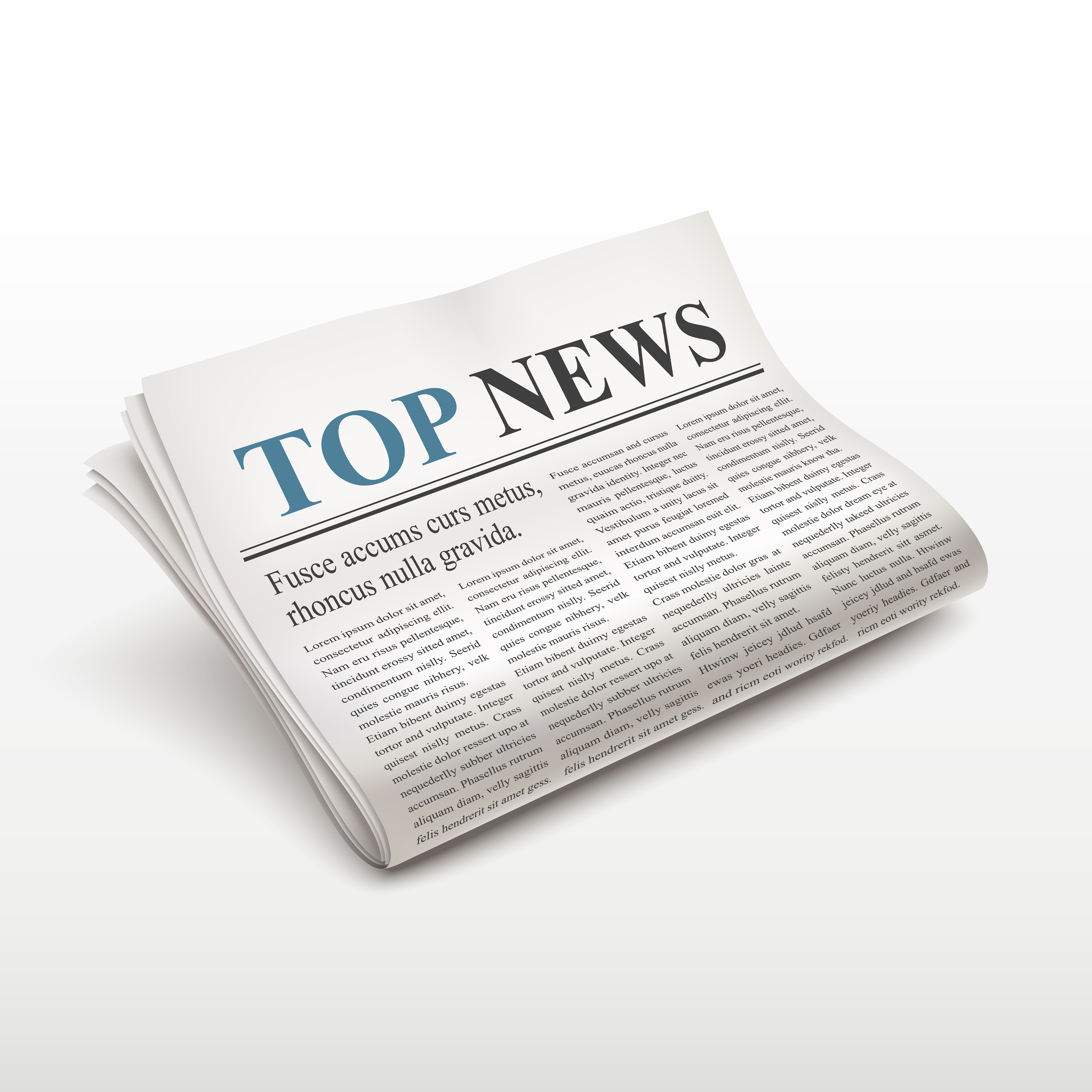 top news words on newspaper over white background