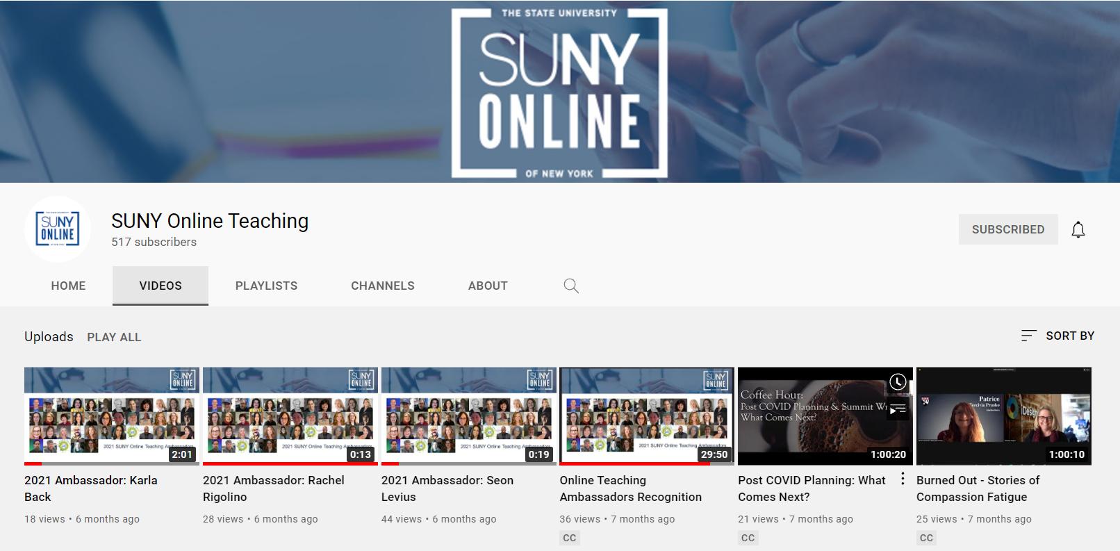 SUNY Online YouTube channel