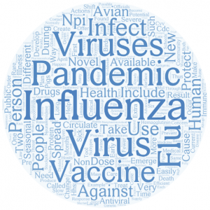 Word cloud graphic of flu and pandemic terms