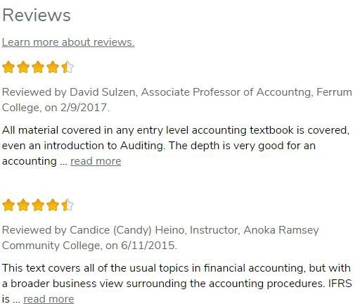 Screen shot of online review of OER