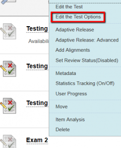 Select Edit the Test Options