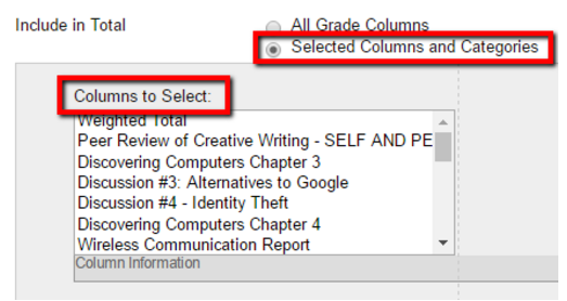 Points total column columns to select